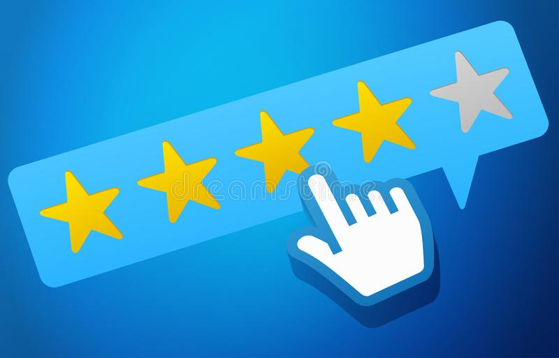 User Customer Review Product Rating Feedback Concept. On blue background royalty free illustration
