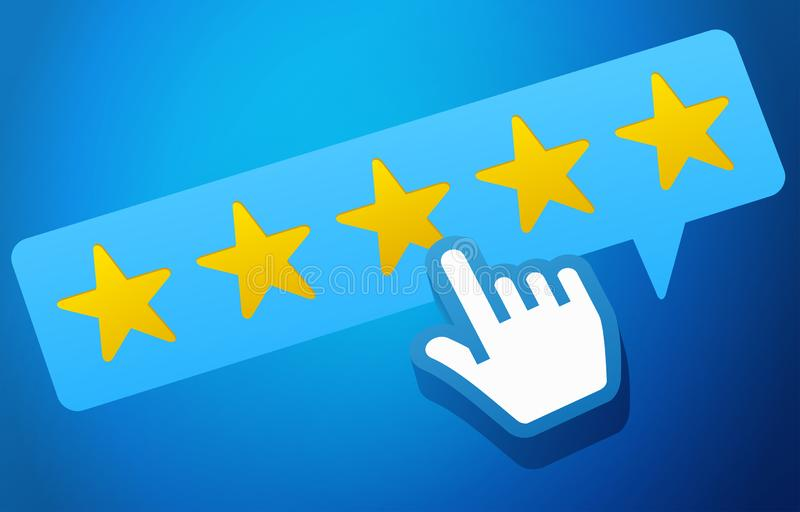 User Customer Review Product Rating Feedback Concept. On blue background vector illustration