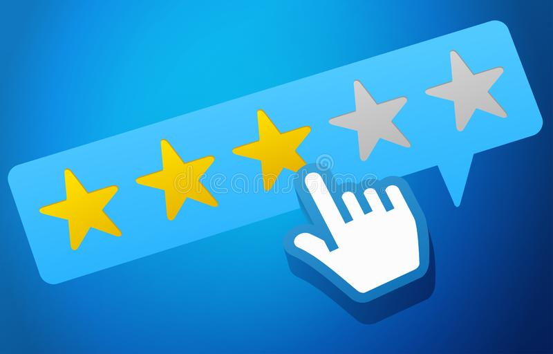 User Customer Review Product Rating Feedback Concept. On blue background stock illustration