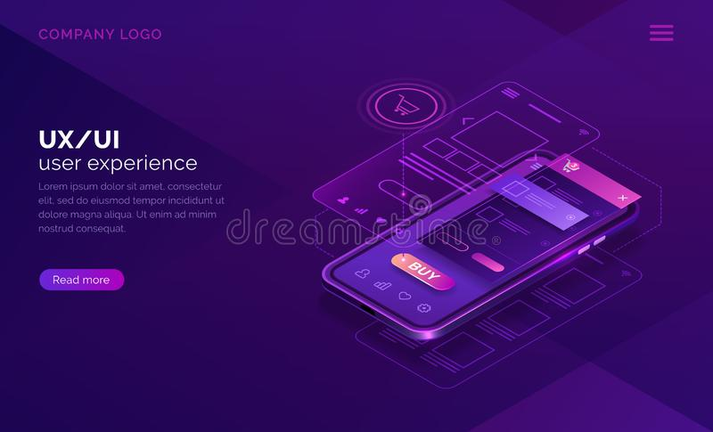 User experience isometric concept, ux ui wireframe. User experience concept vector isometric illustration. Mobile app ux, ui interface developmenti for online royalty free illustration