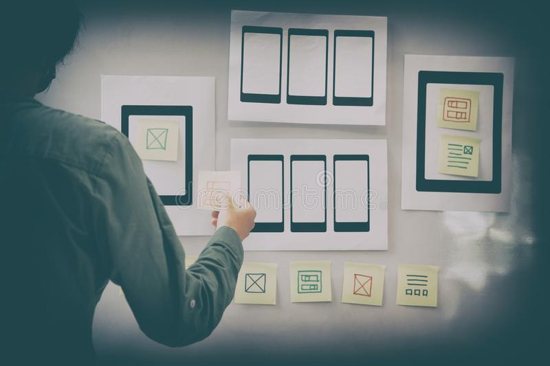 User experience UX designer designing web on mobile phone tablet. User experience, UX designer designing web on smart phone tablet layout. UI planning mobile stock photography