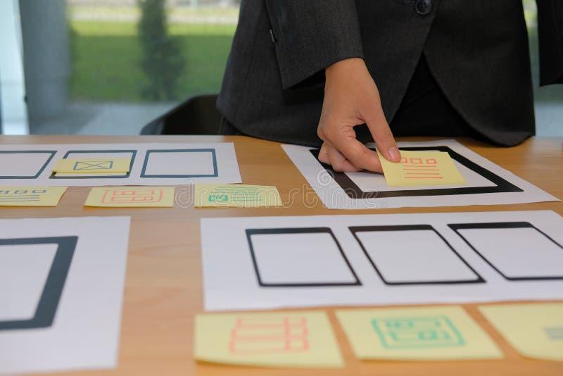 User experience UX designer designing web on smartphone tablet l. User experience, UX designer designing web on smart phone tablet layout. UI planning mobile royalty free stock image