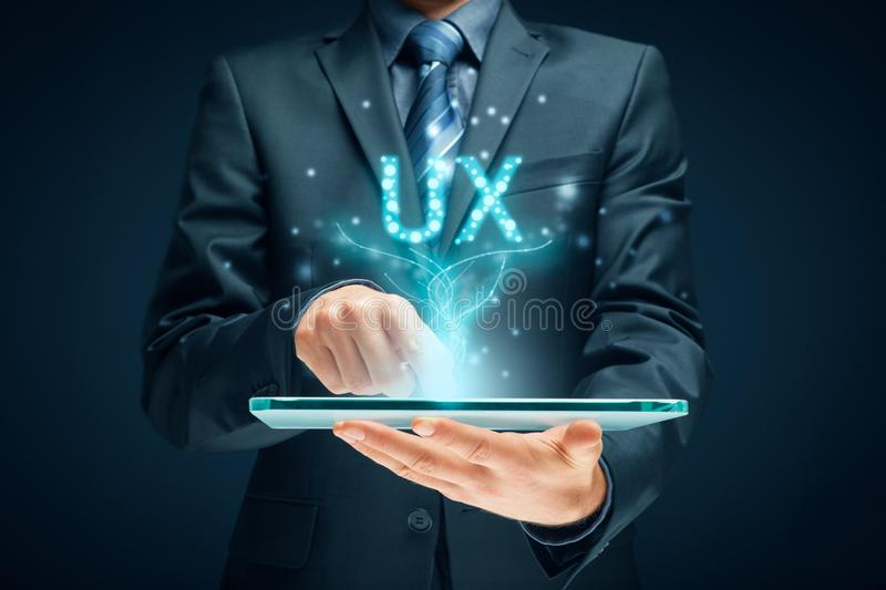 User experience on digital tablet app - UX concept royalty free stock photo