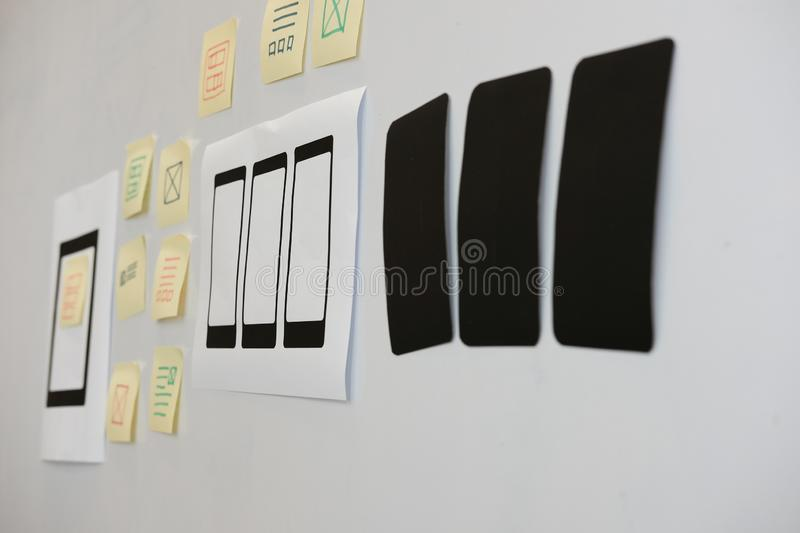 User experience workspace. UX smart phone layout. UI planning mo. User experience workplace. UX smart phone layout. UI planning mobile application royalty free stock images