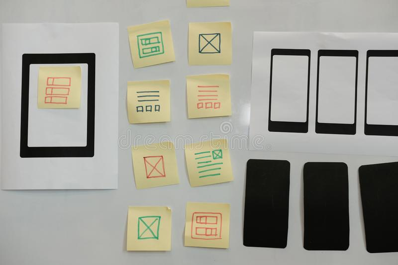 User experience workspace. UX smart phone tablet layout. UI plan. User experience workplace. UX smart phone tablet layout. UI planning mobile application stock images