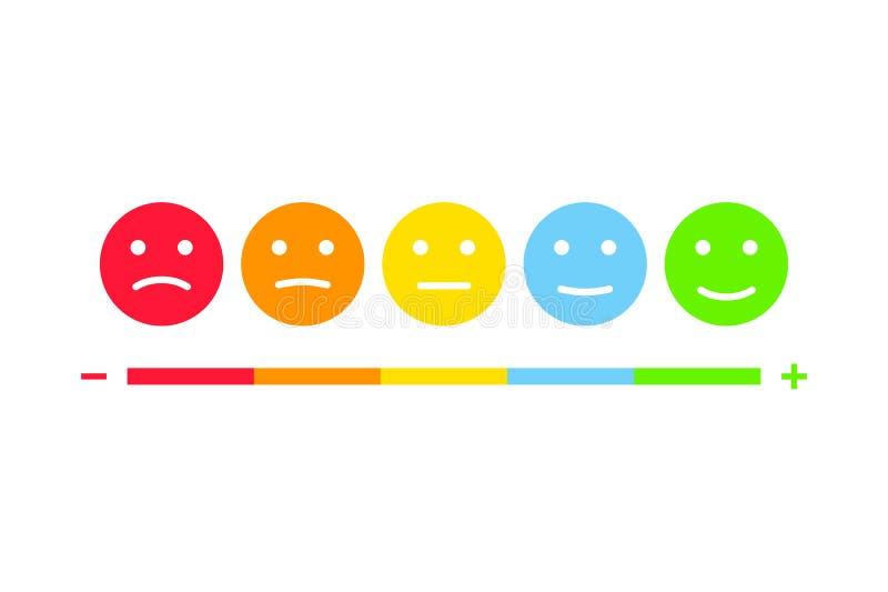User feedback emoticons infographics set. Customer survey testimonials smiley illustration. User feedback emoticons infographics set. Customer survey stock illustration