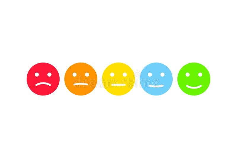 User feedback emoticons infographics set. Customer survey testimonials smiley illustration. User feedback emoticons infographics set. Customer survey royalty free illustration