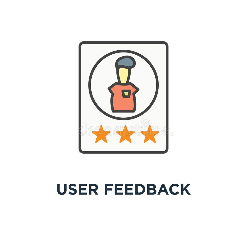 User feedback icon, customer review, rating stars and shot review, cute cartoon, outline design,, evaluation of an employee or a. Candidate for work, card with stock illustration