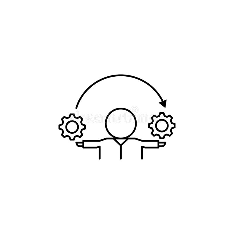 User, gears, process, inventor icon. Element of life coach icon. On white background stock illustration
