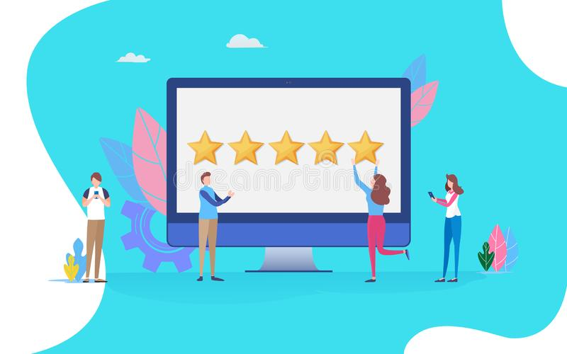 User giving five star rating. feedback review scroll. People vector illustration. Flat cartoon character graphic design. Landing page template,banner,flyer vector illustration