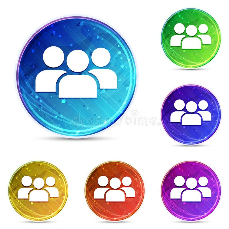 User group icon digital abstract round buttons set illustration. User group icon isolated on digital abstract round buttons set illustration stock illustration