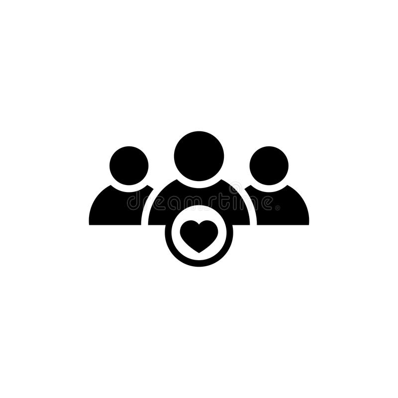 User group icon with heart shape vector illustration