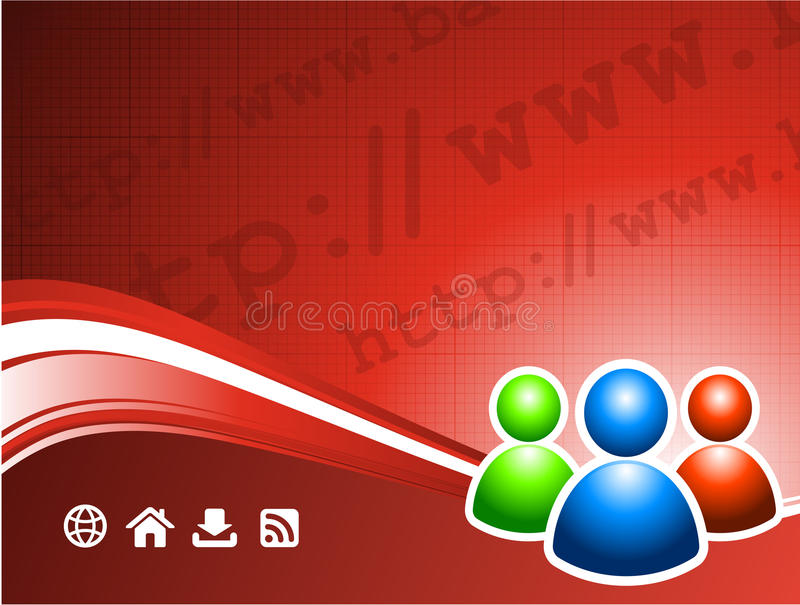 User group on internet background vector illustration