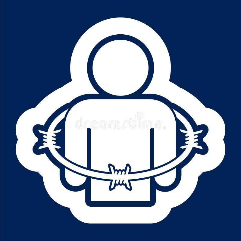 User icon with barbwire - Illustration. Icon stock illustration