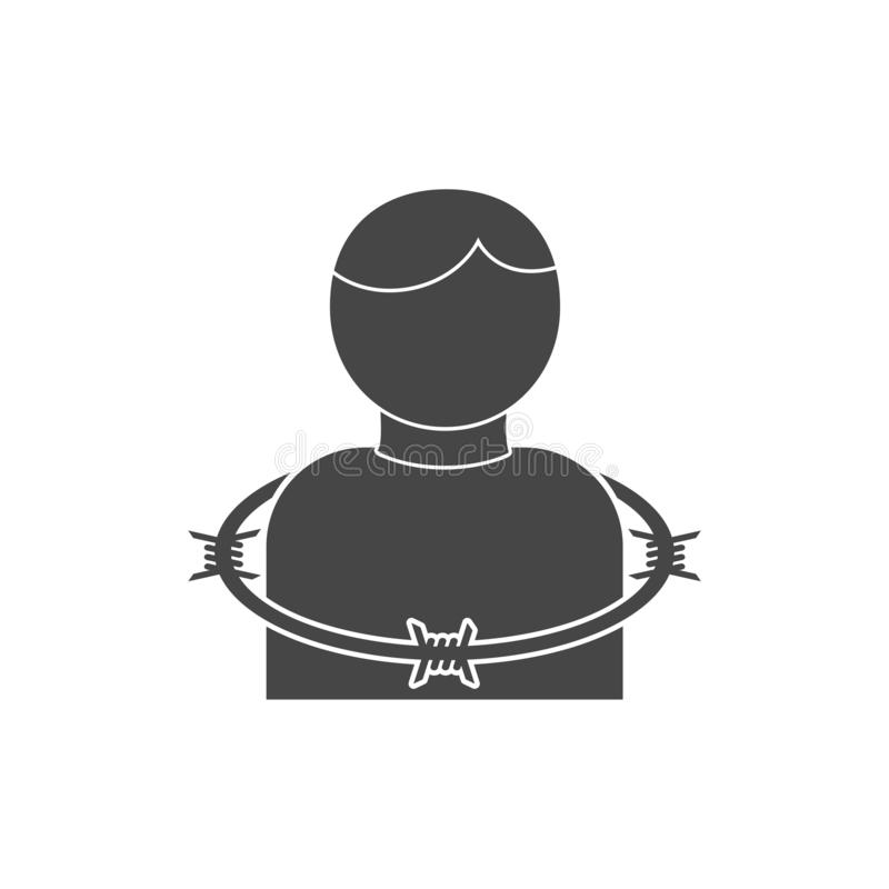User icon with barbwire - Illustration. Icon royalty free illustration