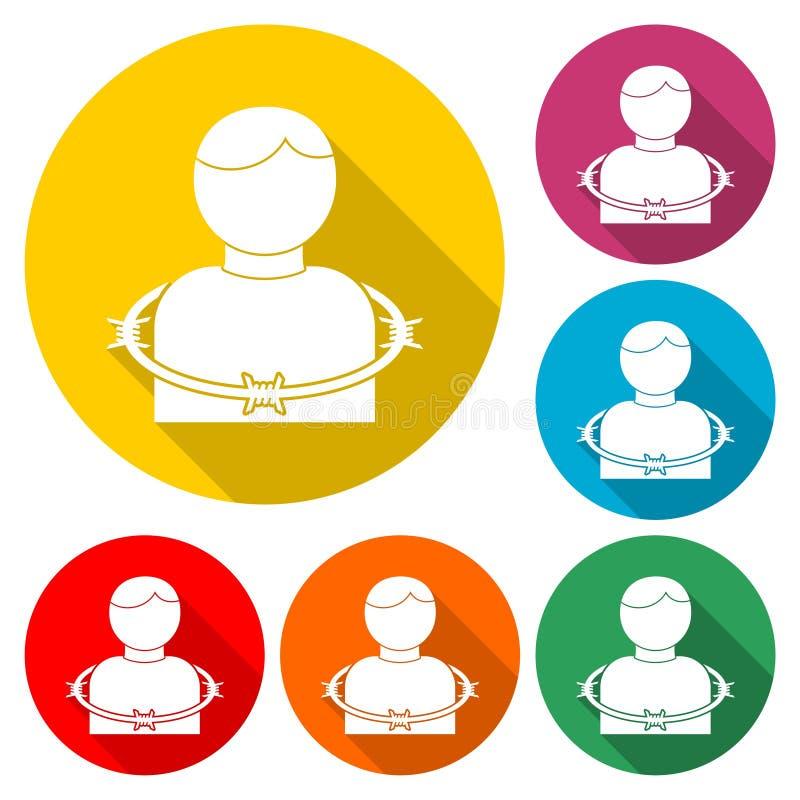 User icon with barbwire - Illustration. Icon set stock illustration