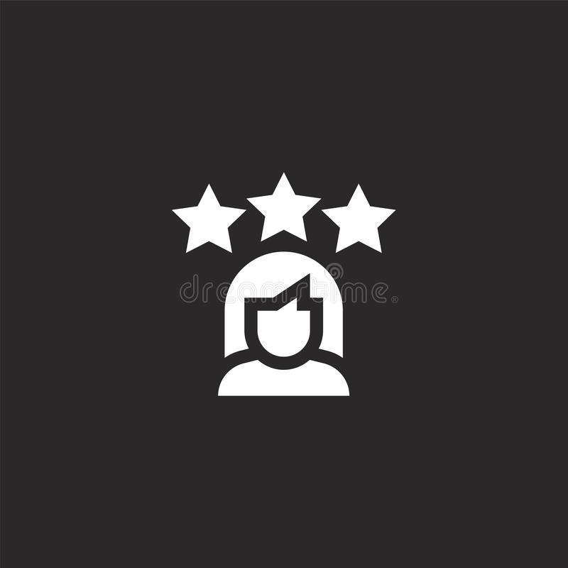 User icon. Filled user icon for website design and mobile, app development. user icon from filled feedback and testimonials. Collection isolated on black royalty free illustration