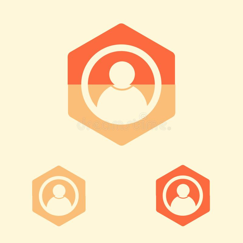 User icon in flat design style. vector icon button royalty free illustration