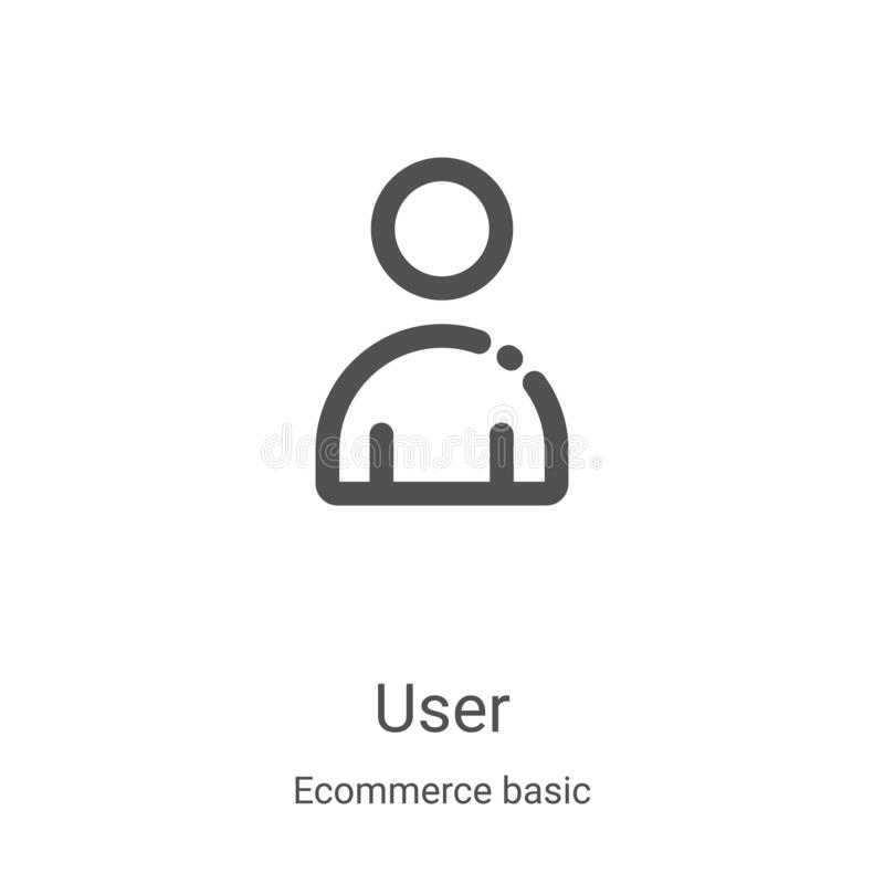 User icon vector from ecommerce basic collection. Thin line user outline icon vector illustration. Linear symbol for use on web. And mobile apps, logo, print stock illustration