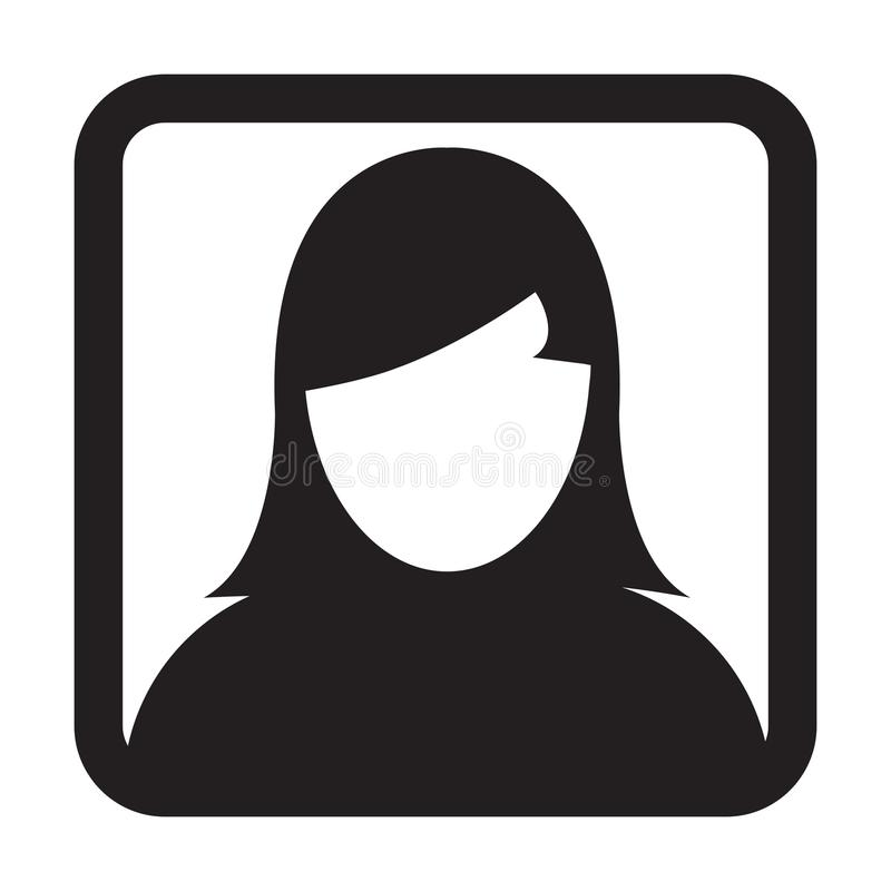 User Icon Vector Female Person Symbol Profile Avatar Sign. In Flat Color Glyph Pictogram illustration royalty free illustration