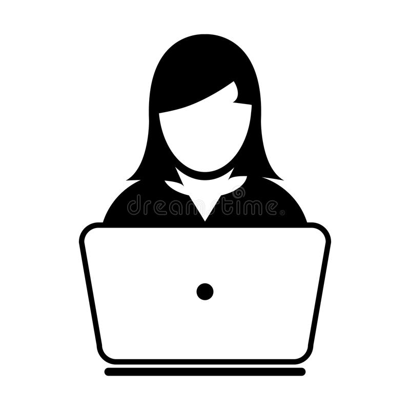 User Icon Vector With Laptop Computer Female Person Profile Avatar. For Business and Online Communication Network in Glyph Pictogram Symbol illustration stock illustration