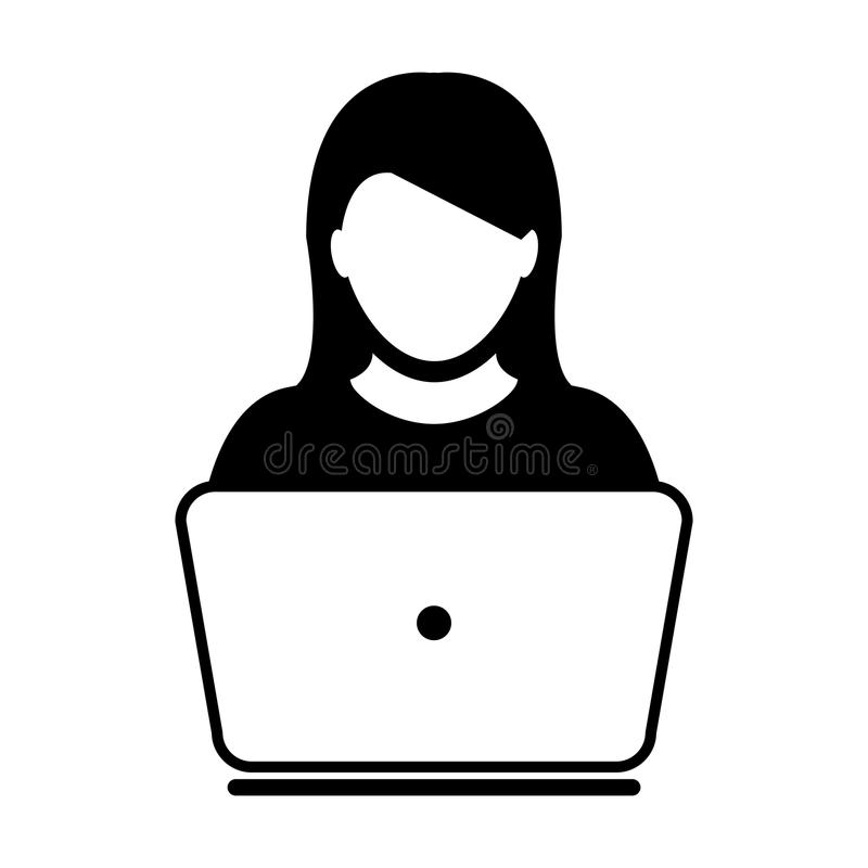 User Icon Vector With Laptop Computer Female Person Profile. Avatar for Business and Online Communication Network in Glyph Pictogram Symbol illustration vector illustration