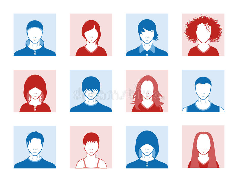 User icons. Boy and girl user icons for social web applications or fashion related websites vector illustration
