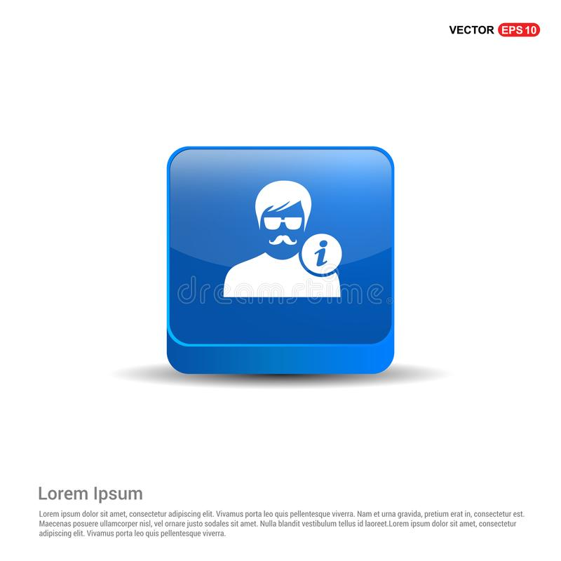 User Info Icon - 3d Blue Button stock illustration