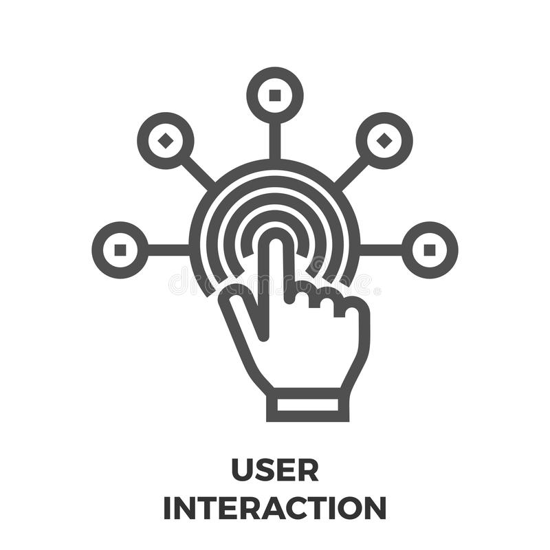 User Interaction Line Icon. User Interaction Thin Line Vector Icon Isolated on the White Background stock illustration
