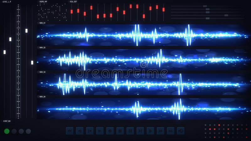 User interface of audio editing software. Abstract audio technology concept. Computer designed image royalty free illustration