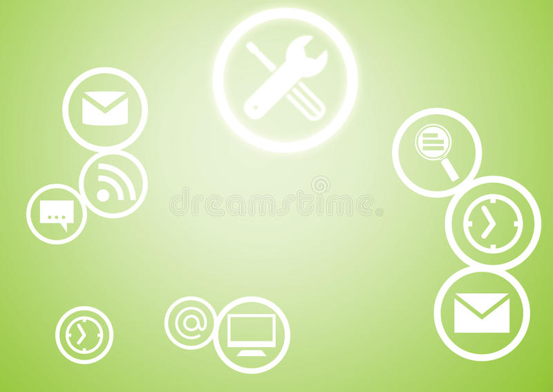 User interface. Background image with application icons on color background stock illustration