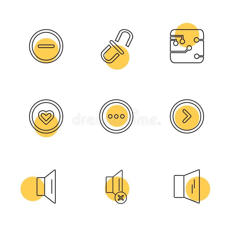 User interface , buttons , application , multimedia , eps icons. User interface , buttons , application , multimedia , speaker, sound , mute , clock , menu stock illustration