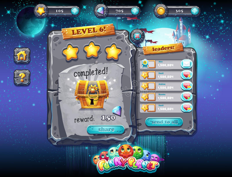 User interface for computer games and web design with buttons, prizes, levels and other elements. Set 2. Illustration fabulous space with planets and funny royalty free illustration
