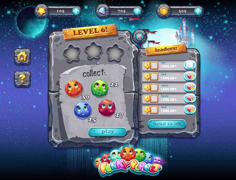 User interface for computer games and web design with buttons, prizes, levels and other elements. Set 1. Illustration fabulous space with planets and funny stock illustration