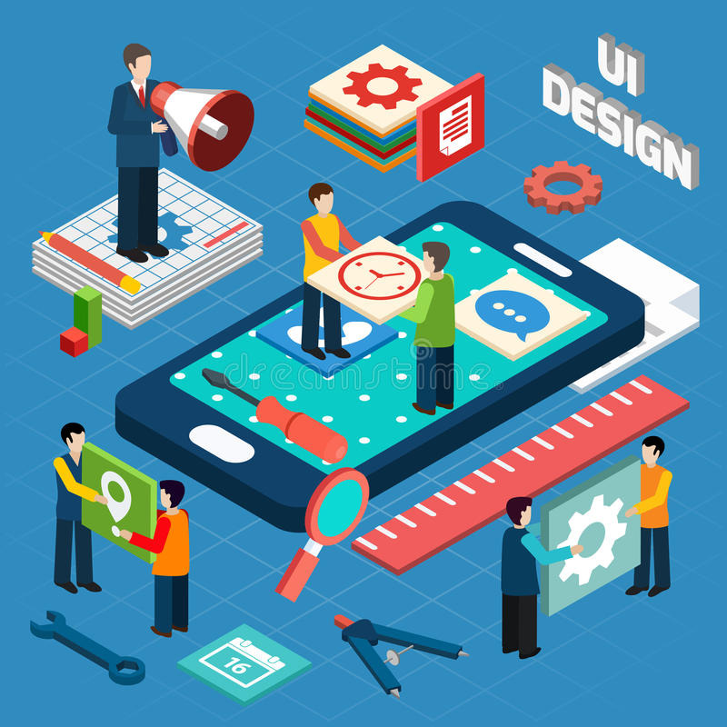 User interface design concept symbols layout. User interface engineering for electronic appliances and mobile devices concept pictograms composition design stock illustration