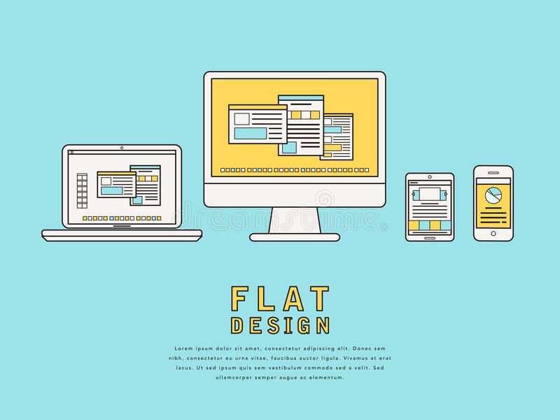 User interface design. Illustration of user interface design in flat line style stock illustration