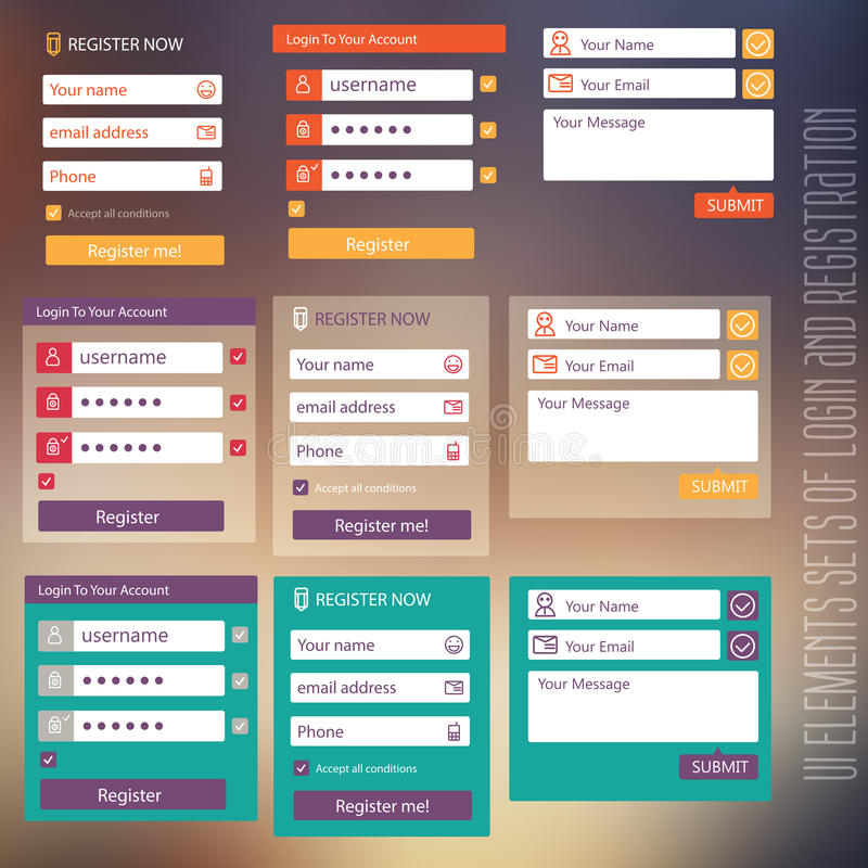 User interface elements sets of login and vector illustration