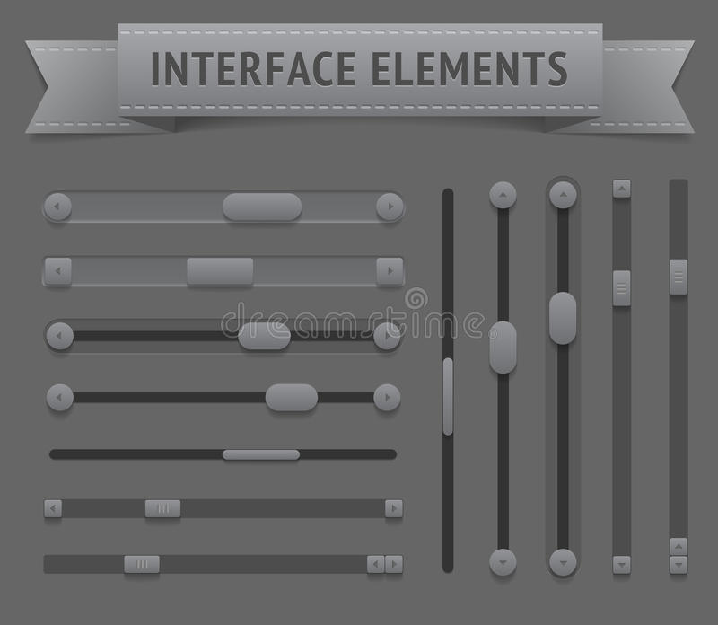 User interface elements. Vector saved as EPS-10, file contains objects with transparency (shadows etc stock illustration