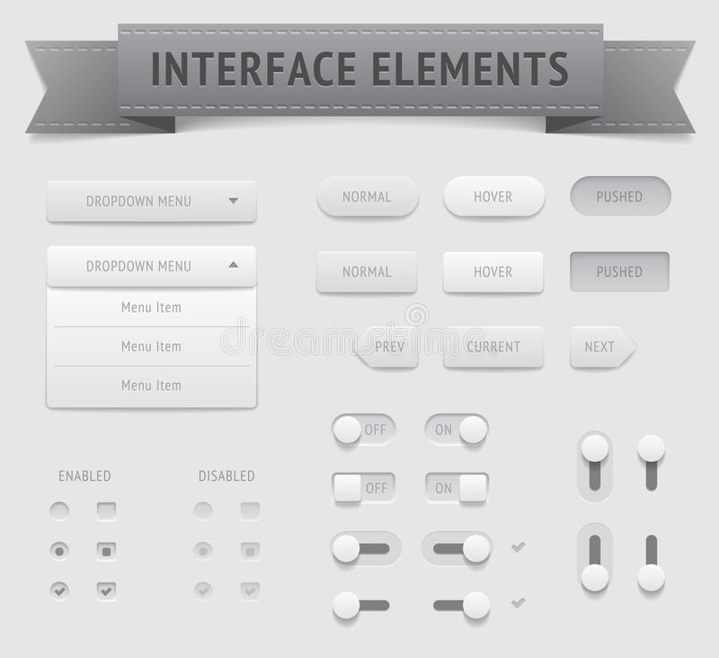 User interface elements. Vector saved as EPS-10, file contains objects with transparency (shadows etc vector illustration