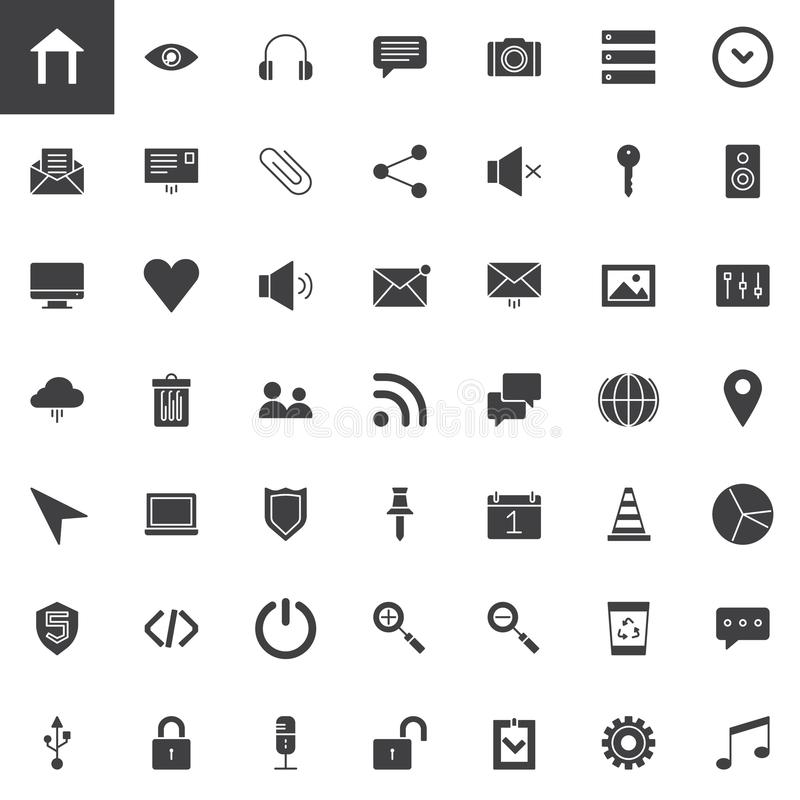 User interface essentials vector icons set. Modern solid symbol collection, filled style pictogram pack. Signs, logo illustration. Set includes icons as home royalty free illustration