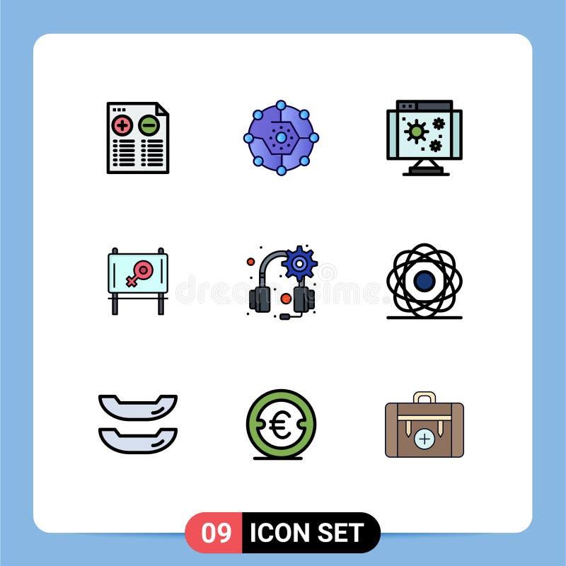 9 User Interface Filledline Flat Color Pack of modern Signs and Symbols of headphones, message, share, ad, virus. Modern Set of 9 Filledline Flat Colors vector illustration