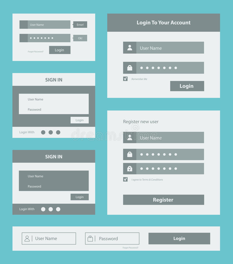 User interface form set. Vector set of user interface login and account registration form design. Isolated on blue background stock illustration