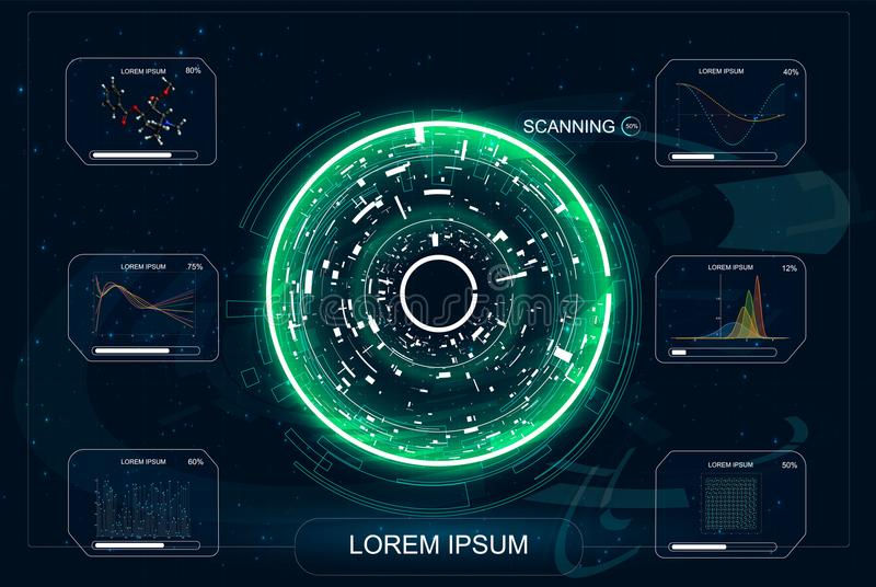 HUD. Radar screen. User interface of the future. Infographic elements. Crypto currency. Bitcoin. Abstract virtual graphic touch user interface. UI hud royalty free illustration