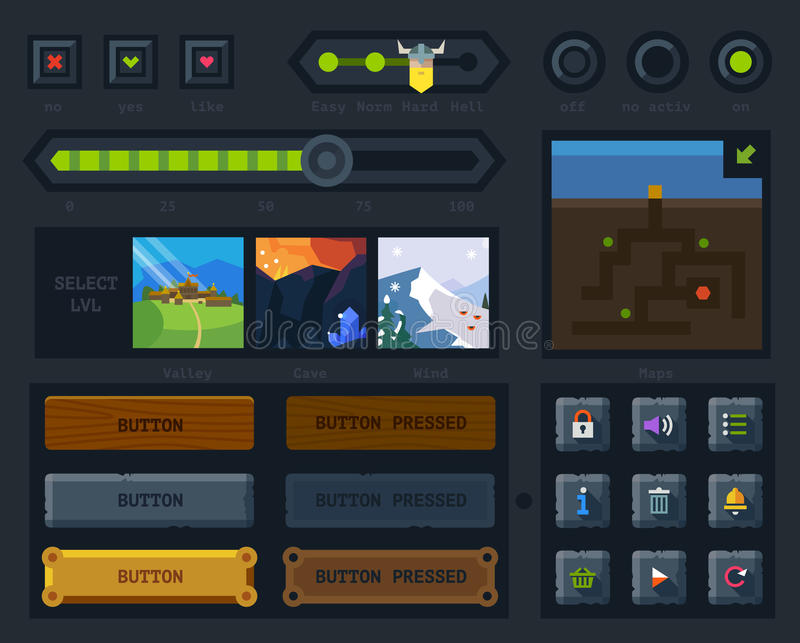 The user interface for the game. Levels, controls and settings. Flat vector style royalty free illustration