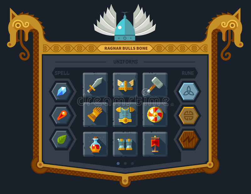 The user interface for the game. Main menu, settings, runes, spells, armor. Vector flat style stock illustration