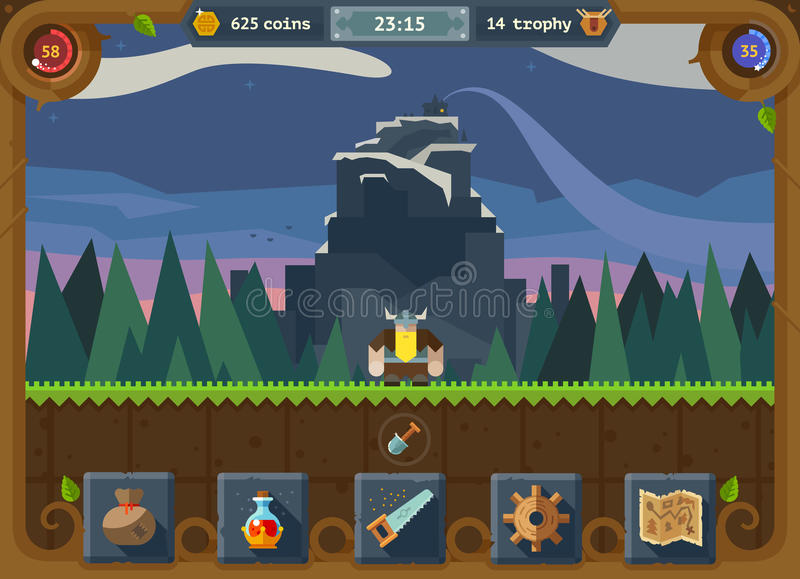 The user interface for the game. Main menu, settings, score, time, map, background forest and castle. Vector flat style royalty free illustration