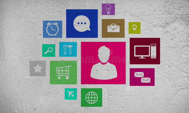 User interface. Group of colorful application icons on wall background royalty free illustration