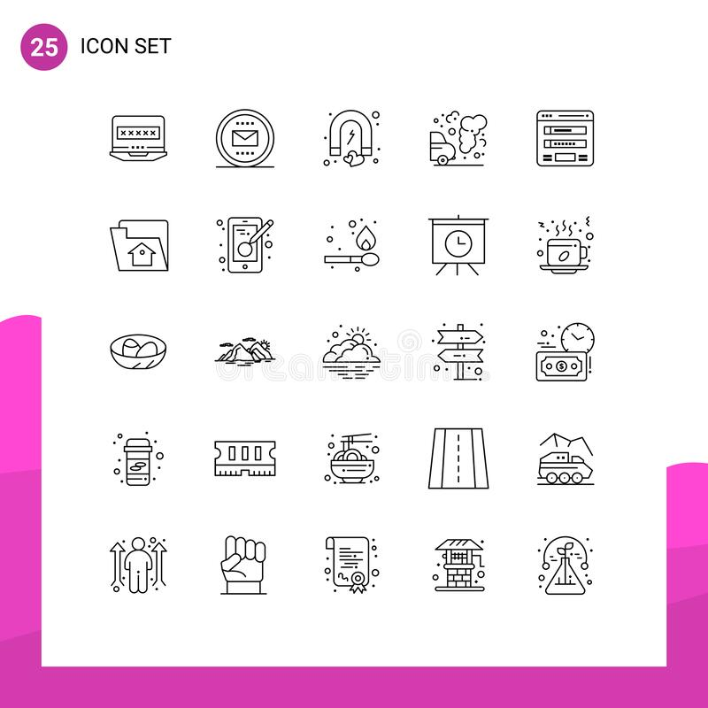 25 User Interface Line Pack of modern Signs and Symbols of pollution, environment, mail, car, magnet. Pictogram Set of 25 Simple Lines of pollution, environment royalty free illustration