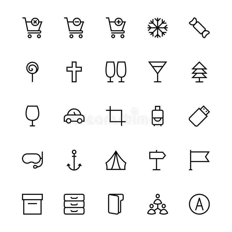 User Interface Line Vector Icons 15 royalty free illustration