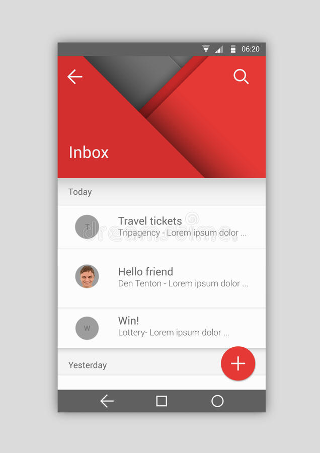 User interface. Material mobile design template mail app stock illustration